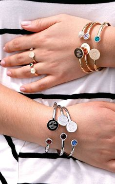 Monogrammed Birthstone Bracelet from Beka Lane.  Make a statement with a monogrammed birthstone bracelet!  The cuff is plated in silver or gold and the birthstone is Swarovski crystal. These are great gifts for birthdays, Valentine's Day, Mother's Day, Christmas and Hannukah! Free Shipping!