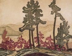 """""""Landscape,"""" Frank Carmichael, ca. color linocut with graphite on laid paper, x National Gallery of Canada. Franklin Carmichael, Tom Thomson, Emily Carr, Group Of Seven, Canadian Artists, Artist Painting, Graphite, Masters, Canada"""