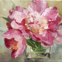 Rosy Posey - Peony painting study -- Deb Kirkeeide