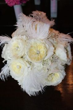 White Garden Rose Bouquet with Feathers - Simply Blue Weddings | Flowers by Marla Courtney Wood