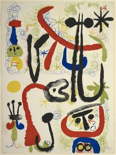 """Joan Miro, Spanish, 1893-1983; """"Personnages and Animals"""", 1950 - Color lithograph on white wove paper - 760 x 566 mm (sheet) - currently on display autumn 2012"""
