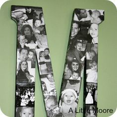 "Large Letter ""C"" with Family Blk & Wht Pics Mod Podged - 8 mod podge projects 