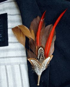 Feather Boutonnieres Melodus | Perfect for Terrence on our Wedding day