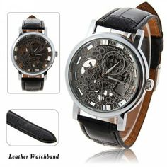 Men's Waterproof Black Leather Automatic Watch with Roman Numerals Indicate Time Silver Round Dial, SILVER DIAL in Men's Watches | DressLily.com