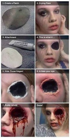 This gory eye makeup can be done in 7 easy steps. | 27 Disgustingly Awesome Ways To Take Halloween To The Next Level