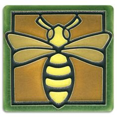 Motawi Tileworks Bee Polychrome Tile - Detroit Institute of Arts Museum Shop Arts And Crafts Movement, Bee Wings, Fun Craft, Michigan, Art Nouveau Tiles, Tile Projects, Bee Art, Clay Tiles, Bees Knees