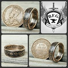 Canadian large cent coin ring. . Check us out on facebook.com/BFGCUSTOMCOINRINGS  and Etsy.com/shop/BFGCustomCoinRings