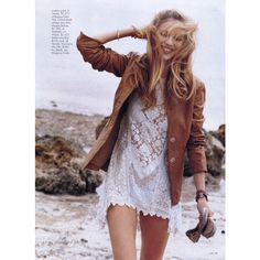 beach chic.   -brown leather jacket-