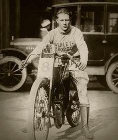 Vintage motorcycle rider. Photo c.1920s