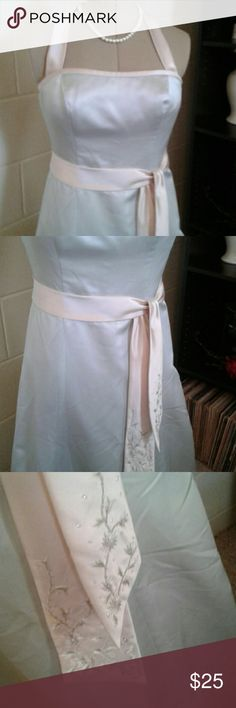 Davids Bridal formal mint green, and cream dress. I just purchased this dress. There is Nothing wrong with it. It is too small up top. So, I am reselling. Dresses Maxi