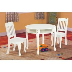 Teamson Kids -Windsor Round Table & Set of 2 Chairs - White:Amazon:Toys & Games