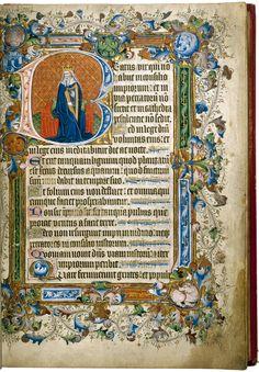 From 1400 - 1420.  National Art Library http://www.vam.ac.uk/users/sites/default/files/2006bc5082_owen_jones_psalter.jpg