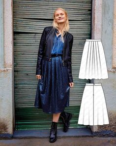 Deep pleats let the sequins shine beautifully in a light and dark sparkle. A fine mesh underskirt with a narrow band lines the skirt to hold the flat drape as well as to keep the fabric from clinging to hosiery.  #burdastyle #sewing #pattern #sew #diy