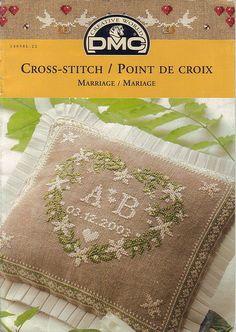 DMC Cross-stitch - marriage - ring pillow - initials