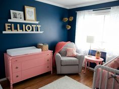 Navy, gold, gray, and coral nursery | DailyCandy