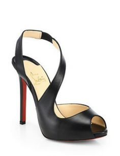Christian Louboutin Viveka Leather Peep-Toe Pumps- In LOVE!