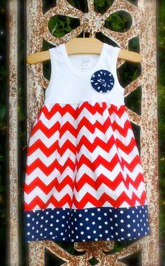 4th of JULY - red chevron dress with contrasting navy polkadot fabric  hand-sewn yo-yo on Etsy, $34.00