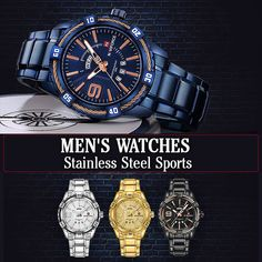 Men's Watches Stainless Steel Sports Men's Watches, Watches For Men, Stainless Steel Case, Michael Kors Watch, Band, Sports, Accessories, Mens Designer Watches, Top Mens Watches
