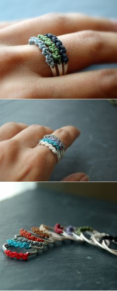 DIY rings. Really love the look of them, you could have a different colour to match each outfit. Easy to make and affordable fashion