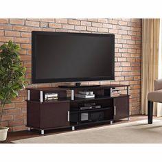 "TV Cabinet Console Stand Large Open Center Media Storage Shelf Cherry Black 70"" #Altra #Contemporary"