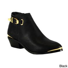 @Overstock.com - Betani Women's 'Ruby-5' Low Chunky Heel Ankle Boots - Betani introduces these gorgeous faux leather booties. With gold details and an ankle buckle, these cute boots are the perfect upgrade for your wardrobe.  http://www.overstock.com/Clothing-Shoes/Betani-Womens-Ruby-5-Low-Chunky-Heel-Ankle-Boots/8240248/product.html?CID=214117 $40.49