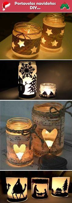Homemade candle holders for Christmas. Homemade candle holders for Christmas. I …- Portavelas navideños D - Homemade Candle Holders, Homemade Candles, Diy Candles, Candle Jars, Christmas Candle Holders, Christmas Candles, Christmas Crafts, Christmas Decorations, Christmas Ideas