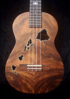 Hawaiian island ukulele sound hole