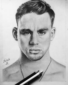 Chaning tatum love actor dance art drawing pencil black and white portrait
