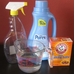 1/8 Cup of fabric softener (I used Downy April Fresh)  2 tablespoons Baking Soda  Hot tap water  Spray bottle (I used my empty 27 oz. Febreze bottle)        Preparation:  Using a funnel, pour fabric softener and baking soda into your spray bottle. Fill spray bottle with hot tap water and shake well.
