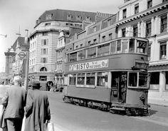 1952: One of the last London trams seen on Westminster Bridge Road.