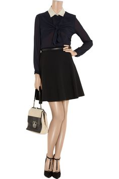 Flared crepe mini skirt by RED Valentino