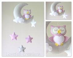 Baby mobile  Owl mobile  Crib Mobile Owl  Baby door LoveFeltXoXo, $99.00