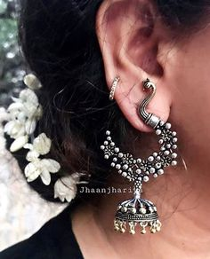 to place your order what's app at 9015877792 or dm us ! Image may contain: one or more people and closeup Indian Jewelry Earrings, Jewelry Design Earrings, Silver Jewellery Indian, Gold Earrings Designs, Fashion Earrings, Fashion Jewelry, Silver Jewelry, Silver Ring, Silver Necklaces