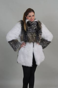 BRAND NEW AND BEAUTIFULLuxury gift/ Silver fox with Crystal Fox Fur Coat/Fur jacket / Wedding,or anniversary present.MADE FOR WOMEN AND MADE FROM