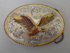 Vintage eagle enamel and gold plated and silver plated belt buckle by tjmccarty on Etsy