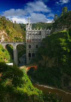 Las Lajas Sanctuary, Colombia | Because build a castle on the mountain would just be doll?