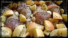Koskacukor: Rozmaring és kakukkfüves csirkecombok vele sült krumplival és almával, sült fokhagyma mártogatóssal Pot Roast, Food And Drink, Potatoes, Vegetables, Eat, Ethnic Recipes, Carne Asada, Potato, Vegetable Recipes