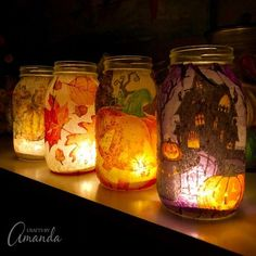 Halloween Mason Jars, Fall Mason Jars, Mason Jar Diy, Halloween Crafts, Diy Jars, Easy Fall Crafts, Fall Crafts For Kids, Fall Diy, Thanksgiving Tafel