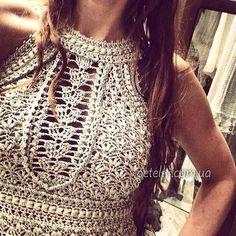 Vestido e top de prata.  Vanessa Montoro.  Esquemas de crochet