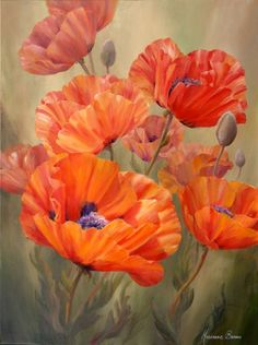 Big Poppy Paintings On Canvas | Poppy Dance by Marianne Broome, acrylic on canvas 40 x 30 inches