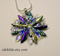 Fused Glass Dichroic Flower Pendant 002 by CDChilds on Etsy,