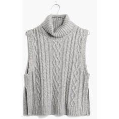 MADEWELL Turtleneck Sweater-Vest (220 PLN) ❤ liked on Polyvore featuring tops, sweaters, shirts, turtleneck, hthr moonstone, turtleneck shirt, sleeveless sweater vest, cropped sweater vest, turtleneck sweater and turtleneck crop tops