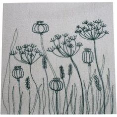 Cow Parsley greetings card Free Motion Embroidery, Diy Embroidery, Embroidery Stitches, Embroidery Patterns, Machine Embroidery, Landscape Art Quilts, Flower Outline, Sewing Art, Sewing Ideas