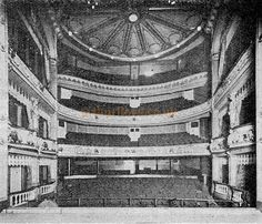 The Century Theatre Auditorium from the stage - From 'The Playgoer' 1901 - Courtesy Iain Wotherspoon. Adelphi Theatre, Auditorium, Stage, Louvre, London, History, Historia, London England
