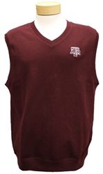 Everyone needs an Aggie sweater vest!     This Texas A Supima cotton knit vest from Cutter & Buck is bio-washed for exceptional softness and features v-neck styling, 1X1 flatback rib knit collar, armholes and hem and has a tonal C pennant at back half moon and the official Texas A Block aTm logo embroidered on the left chest    Care Instructions: Machine wash cold, delicate. Do not bleach. Tumble dry low, delicate. Low iron as needed. Fiber Content: 100% Supima Cotton.