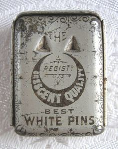 """Crescent Quality Best White Pins"" antique tin / Vesta match safe with sliding…"