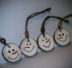 Christmas/Winter Class Party Craft | Snowman Christmas Ornament - Paint Tree Rounds