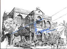 Karachi Press Club, Karachi.  Pen and ink on pastel sheet, drawn with a 0.1mm rapido.  By: Zehra Naqavi (Architect/artist)  Year: 1997