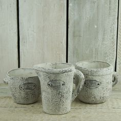 New for Spring. Whitewashed stone cups and jug. http://www.thesatchvillegiftcompany.co.uk/products/new-for-spring-2016/new-spring-garden
