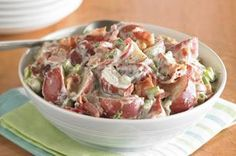 MIRACLE WHIP Rocking Bacon-Ranch Potato Salad recipe - No need to peel the potatoes in this super-easy potato salad. You'll be bringing your new go-to side to potlucks all summer long.
